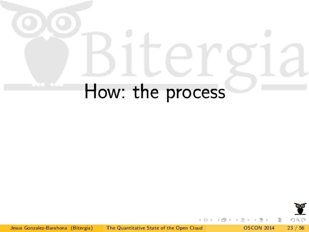How: the process Jesus Gonzalez-Barahona (Biter...