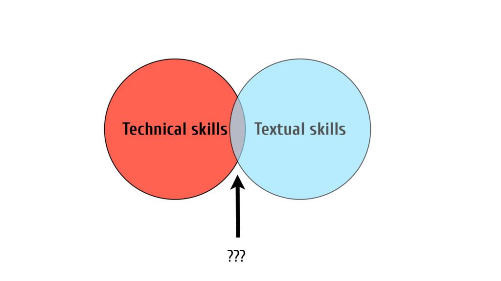 Technical skills Textual skills ???