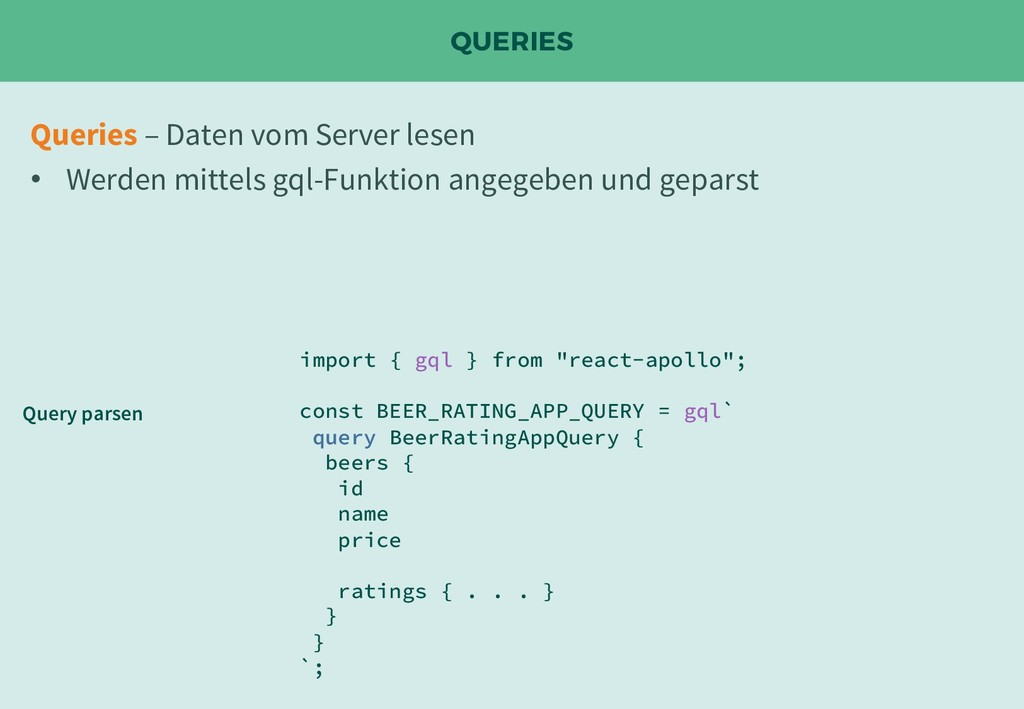 "QUERIES import { gql } from ""react-apollo""; con..."