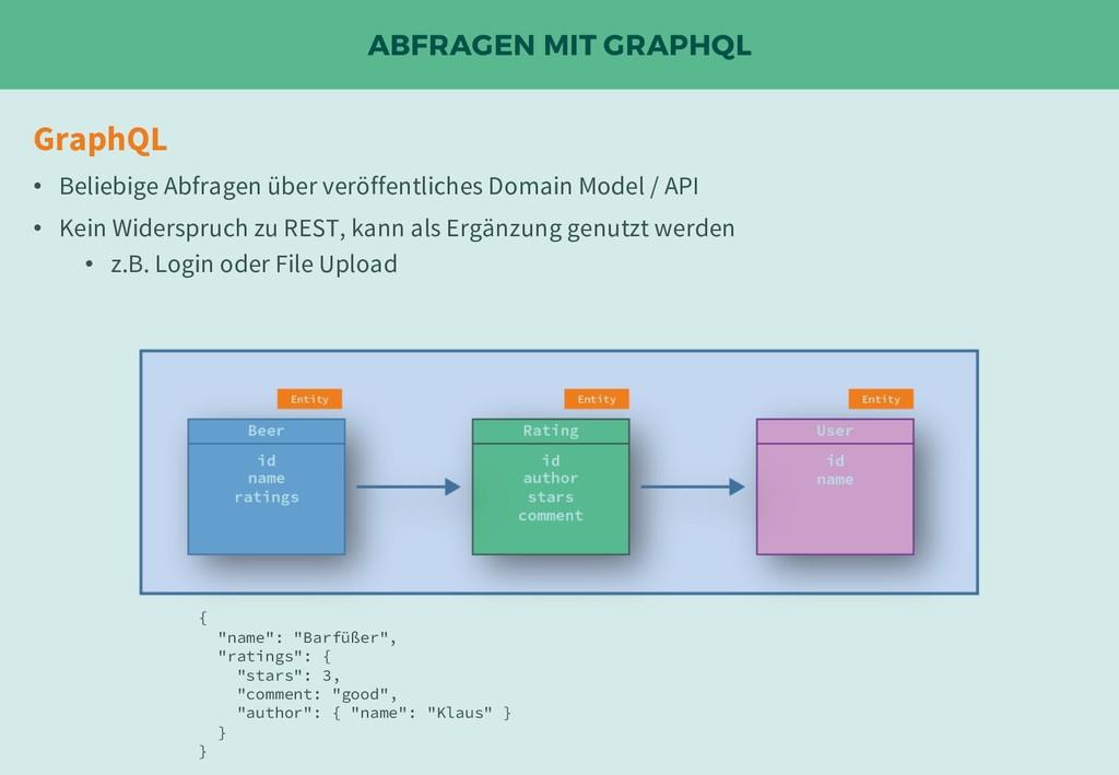 ABFRAGEN MIT GRAPHQL GraphQL • Beliebige Abfrag...
