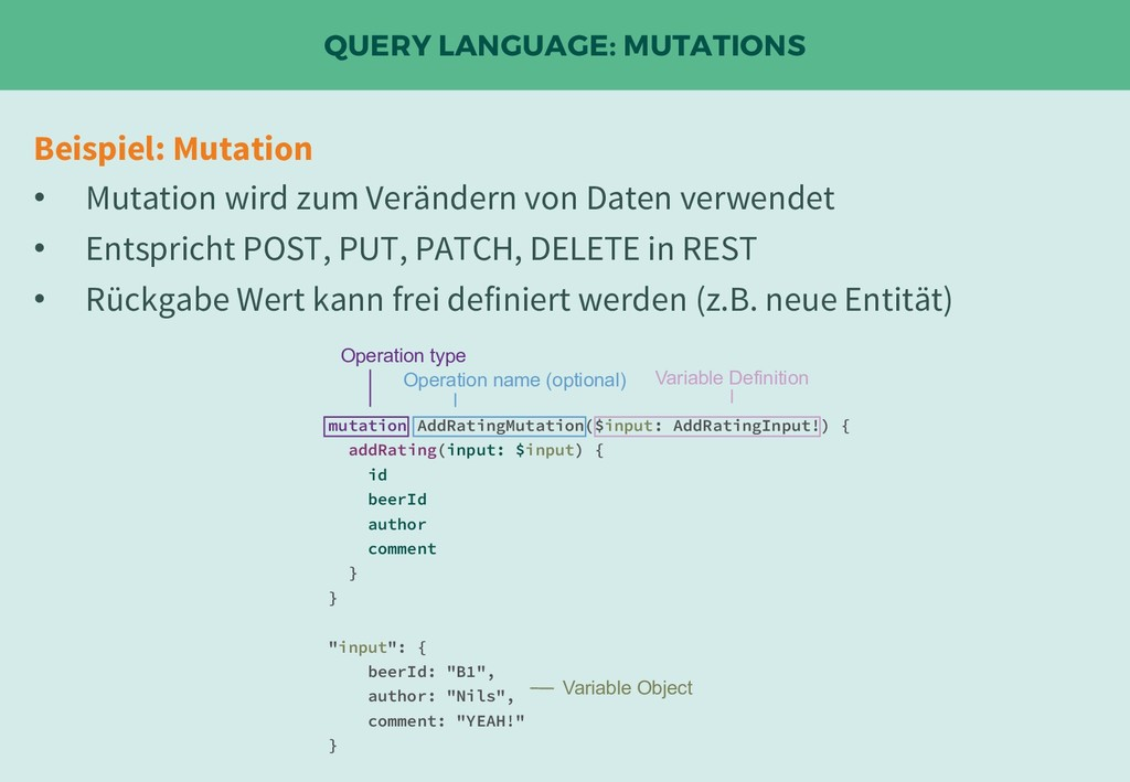 QUERY LANGUAGE: MUTATIONS Beispiel: Mutation • ...