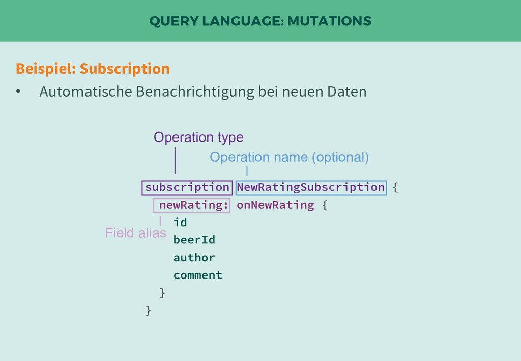 QUERY LANGUAGE: MUTATIONS Beispiel: Subscriptio...
