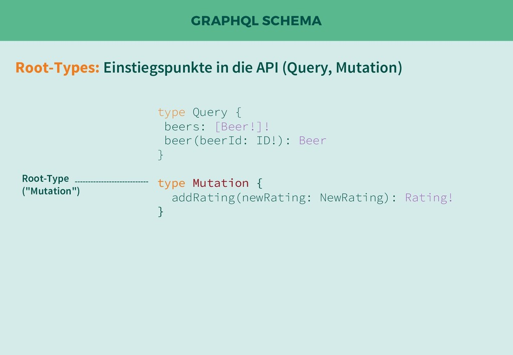 GRAPHQL SCHEMA Root-Types: Einstiegspunkte in d...