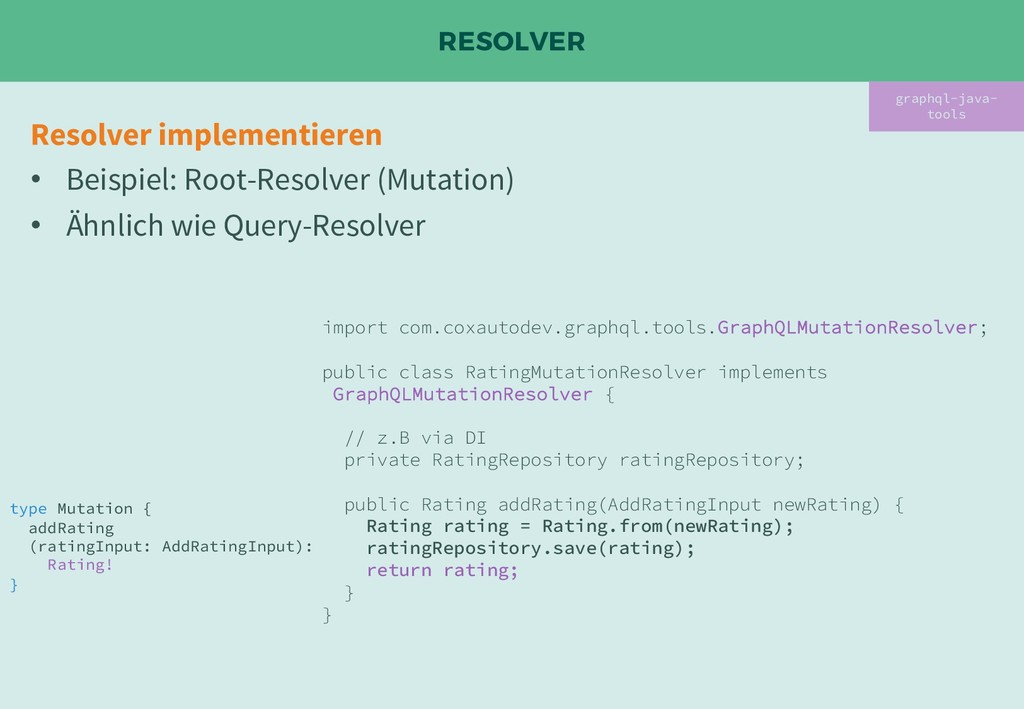 RESOLVER graphql-java- tools Resolver implement...