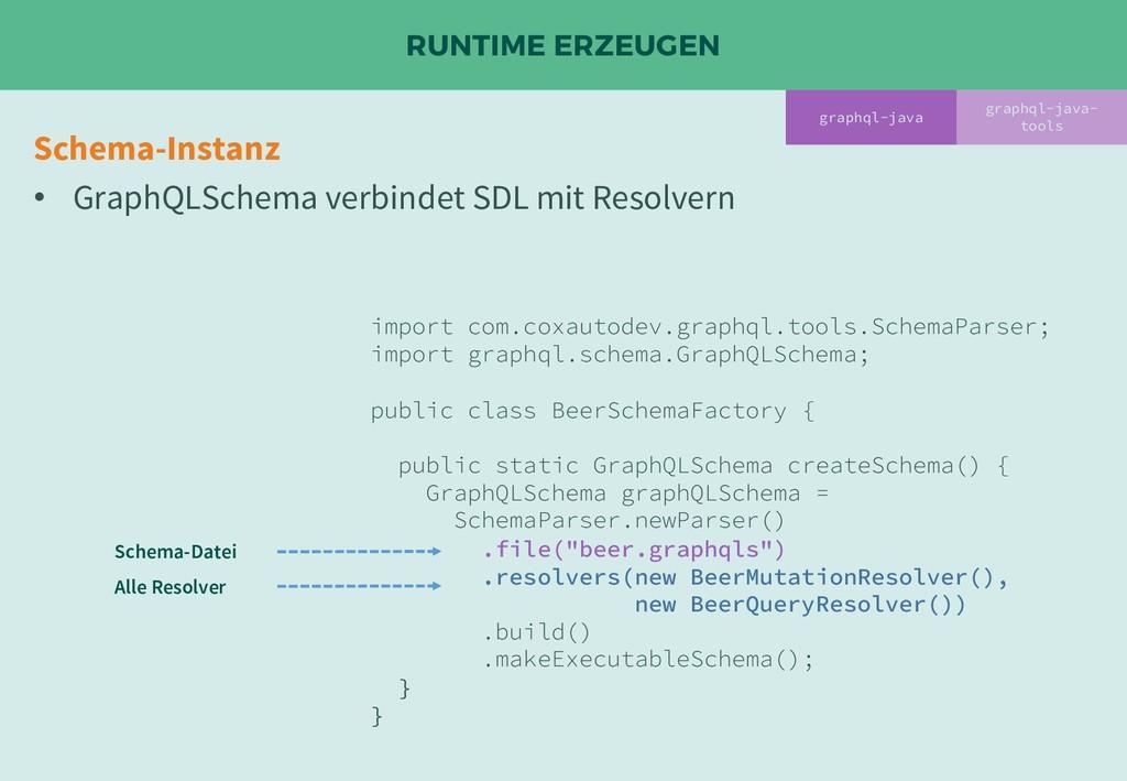 RUNTIME ERZEUGEN graphql-java- tools Schema-Ins...
