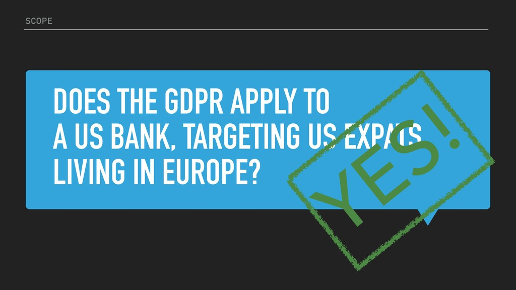 DOES THE GDPR APPLY TO A US BANK, TARGETING US ...