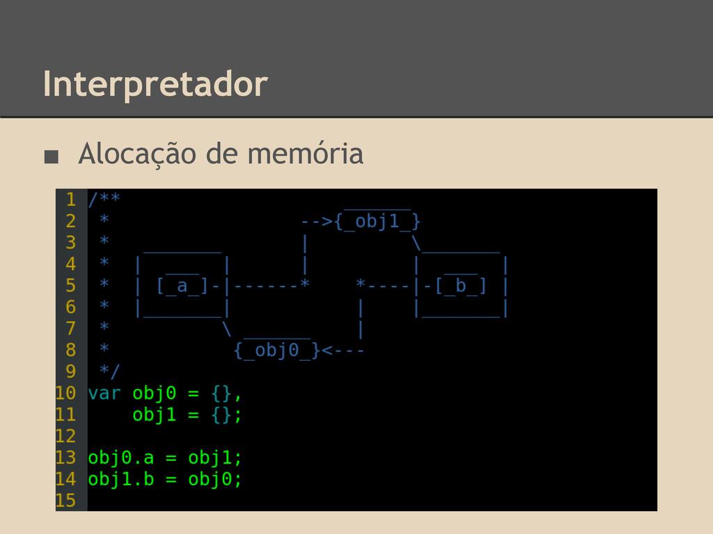 Interpretador ■ Alocação de memória