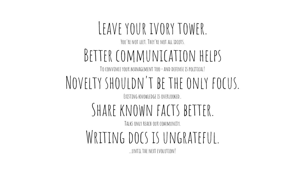 Leave your ivory tower. You're not leet. They'r...