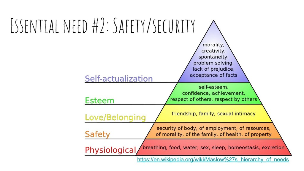 Essential need #2: Safety/security https://en.w...