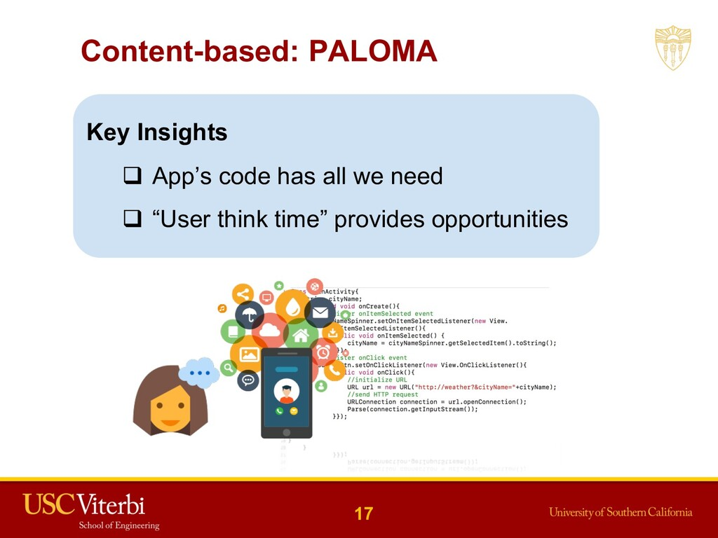 Content-based: PALOMA Key Insights q App's code...