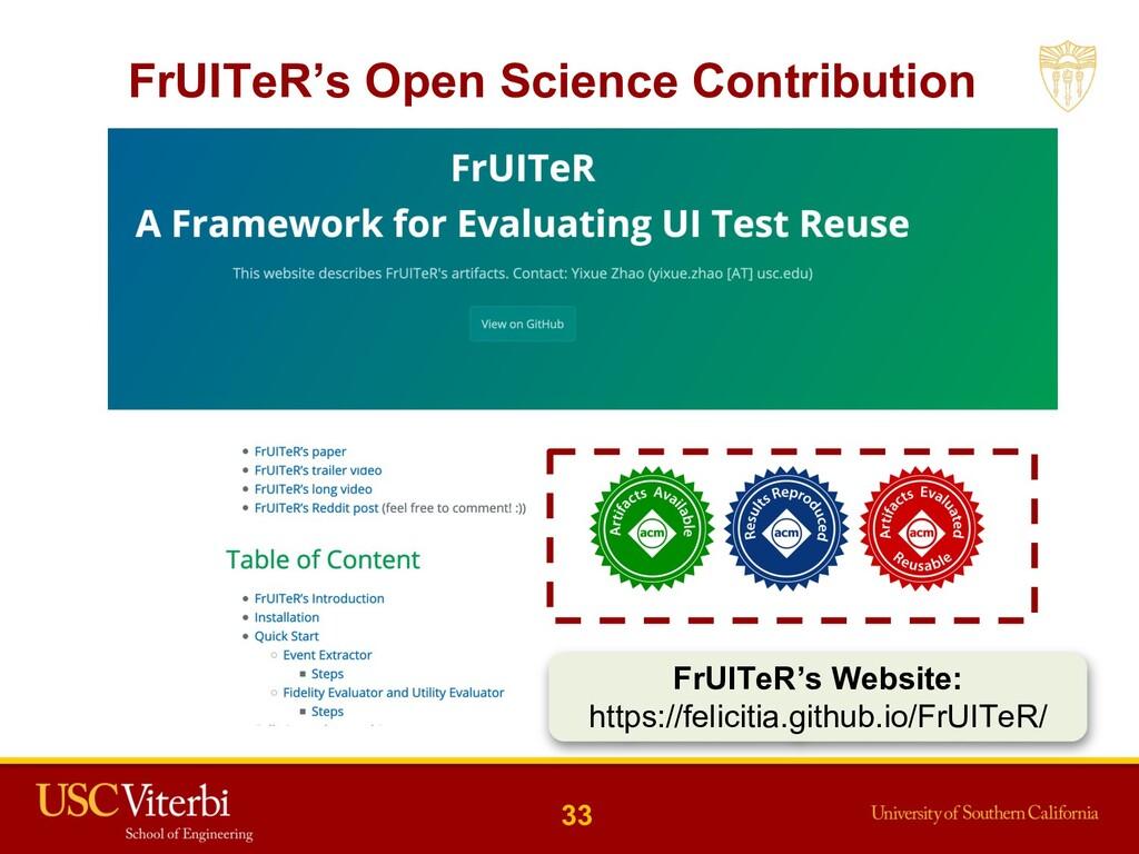 33 FrUITeR's Open Science Contribution FrUITeR'...
