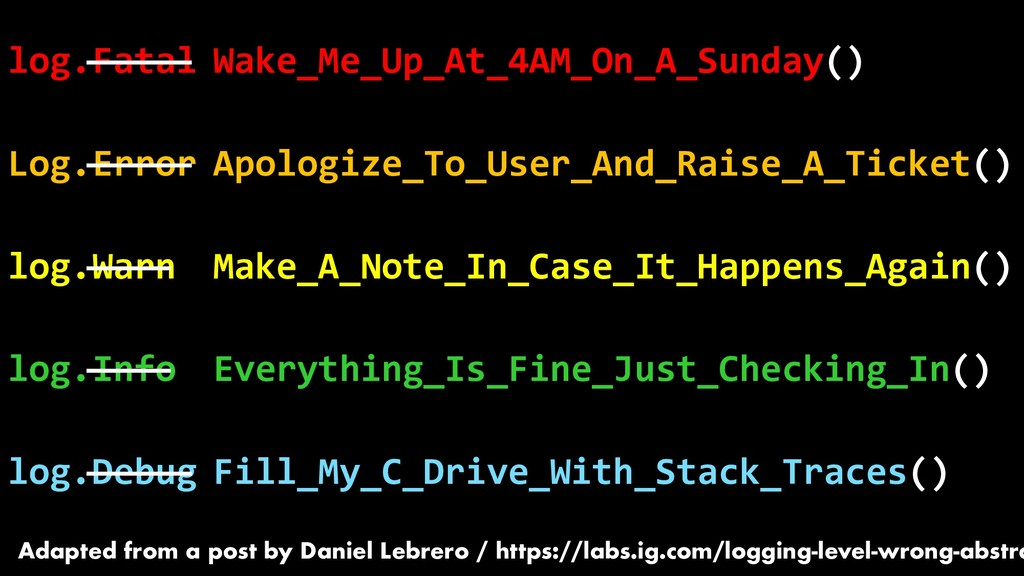 log.Fatal Log.Error log.Warn log.Info log.Debug...