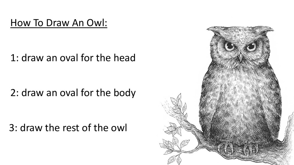 How To Draw An Owl: 1: draw an oval for the hea...
