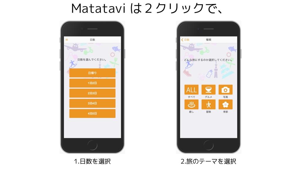 Matatavi は2クリックで、 1.日数を選択 2.旅のテーマを選択