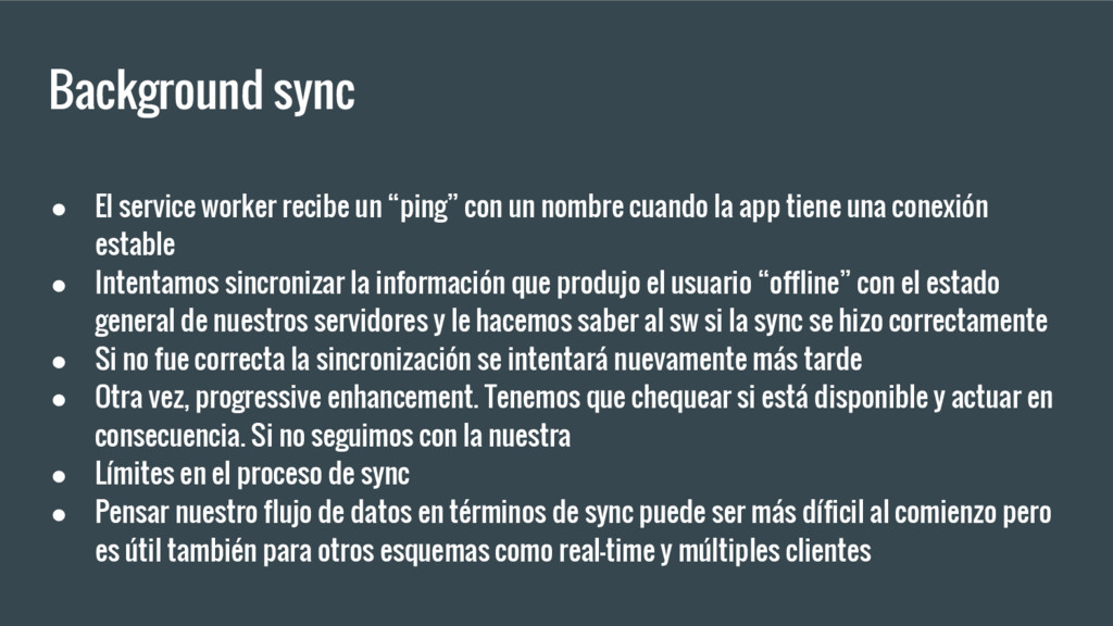 "Background sync ● El service worker recibe un ""..."