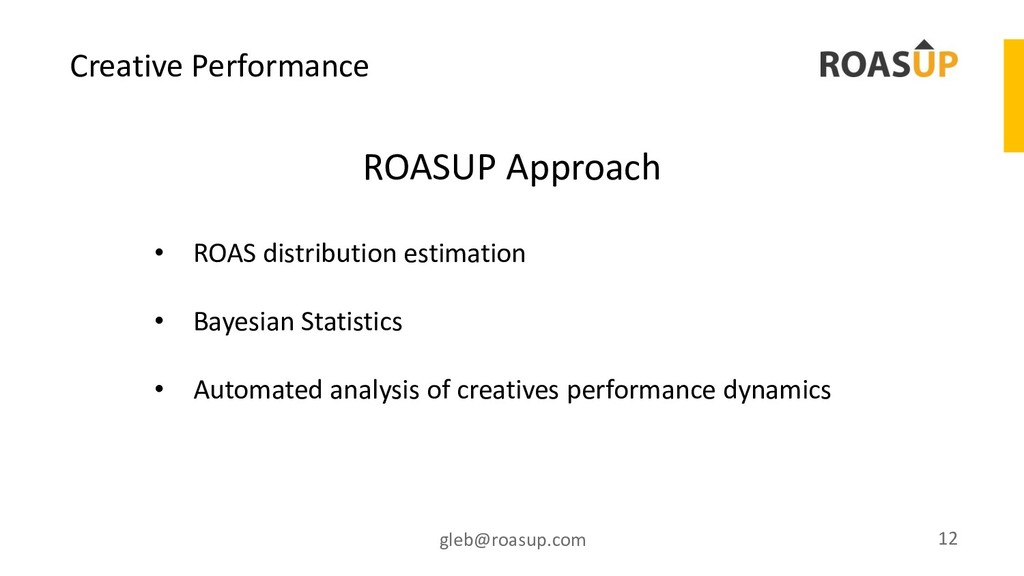 Creative Performance gleb@roasup.com 12 • ROAS ...