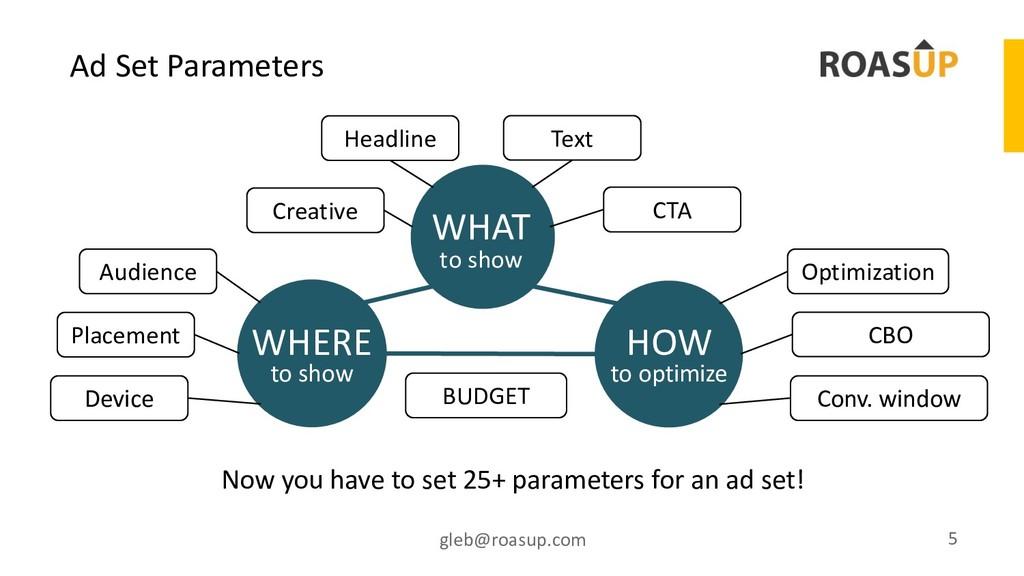 Ad Set Parameters gleb@roasup.com 5 to show WHA...