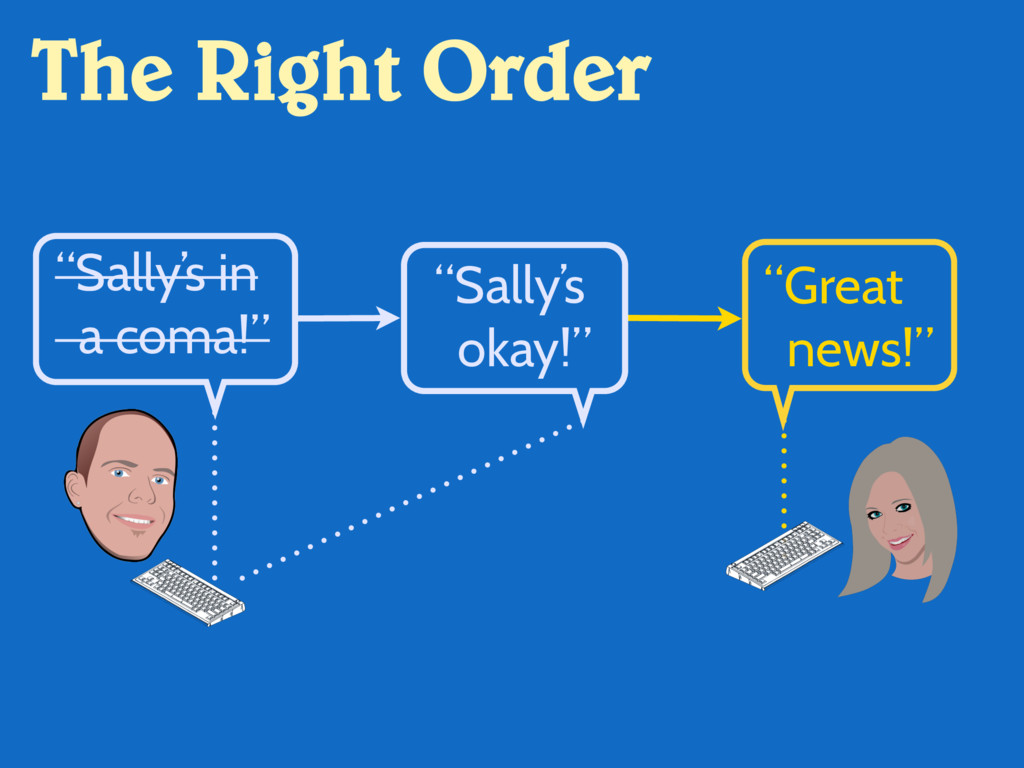 "The Right Order ""Sally's in a coma!"" ""Great new..."