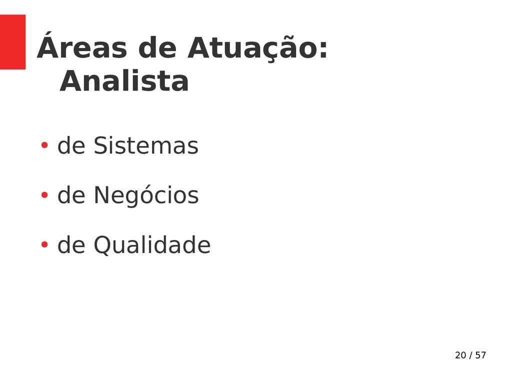 20 / 57 Áreas de Atuação: Analista ● de Sistema...