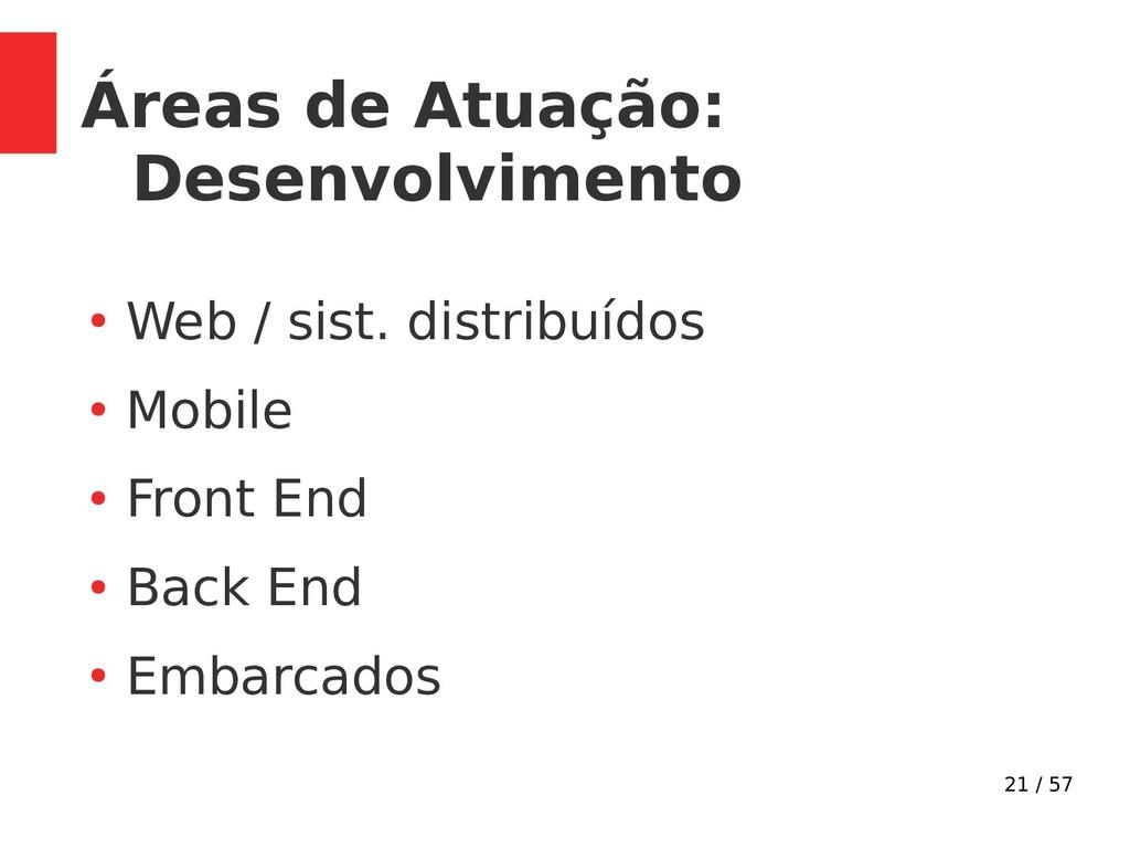 21 / 57 Áreas de Atuação: Desenvolvimento ● Web...