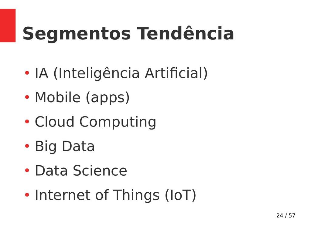 24 / 57 Segmentos Tendência ● IA (Inteligência ...