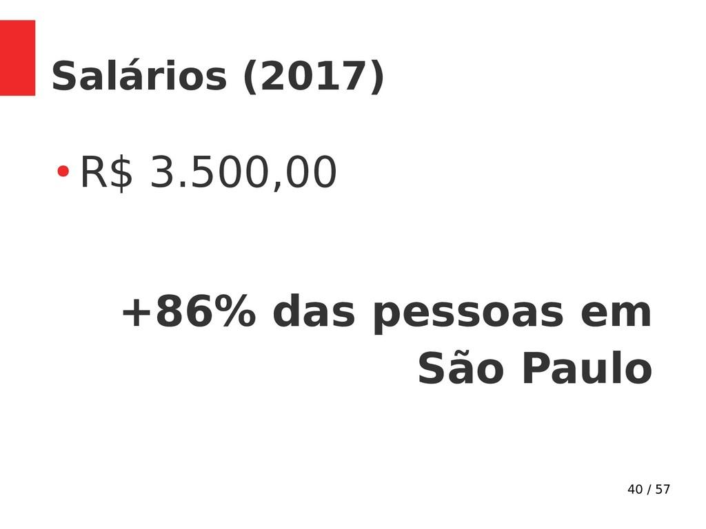 40 / 57 Salários (2017) ● R$ 3.500,00 +86% das ...