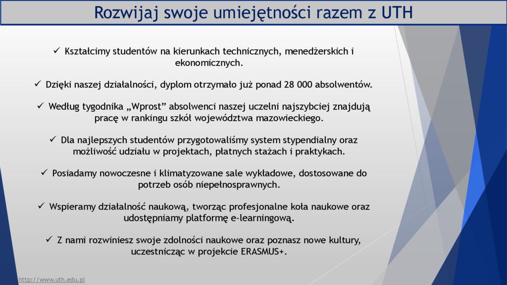 Rozwijaj swoje umiejętności razem z UTH  Kszta...