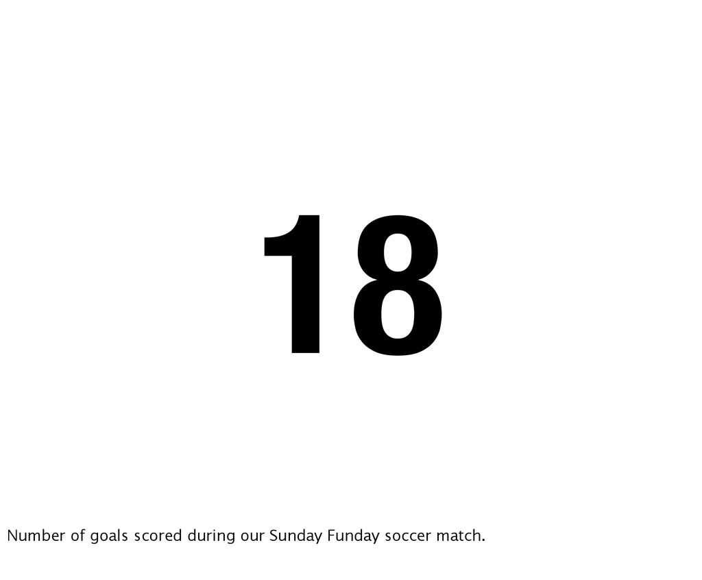 18 Number of goals scored during our Sunday Fun...