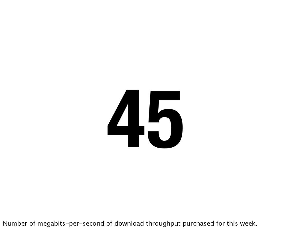 45 Number of megabits-per-second of download th...