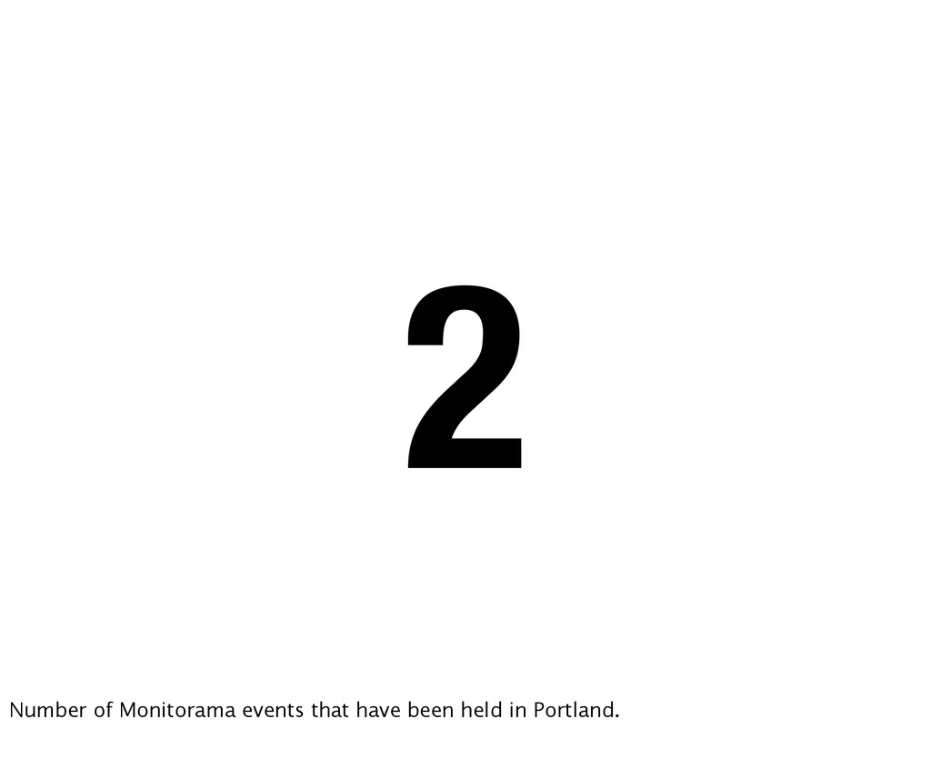 2 Number of Monitorama events that have been he...