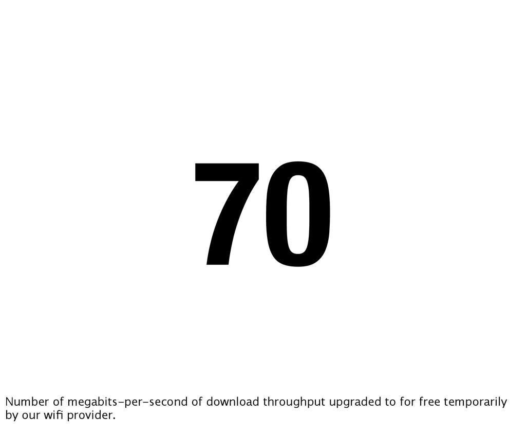 70 Number of megabits-per-second of download th...