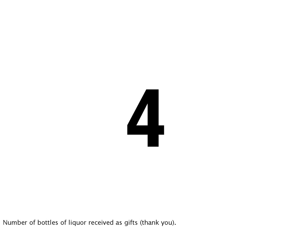 4 Number of bottles of liquor received as gifts...