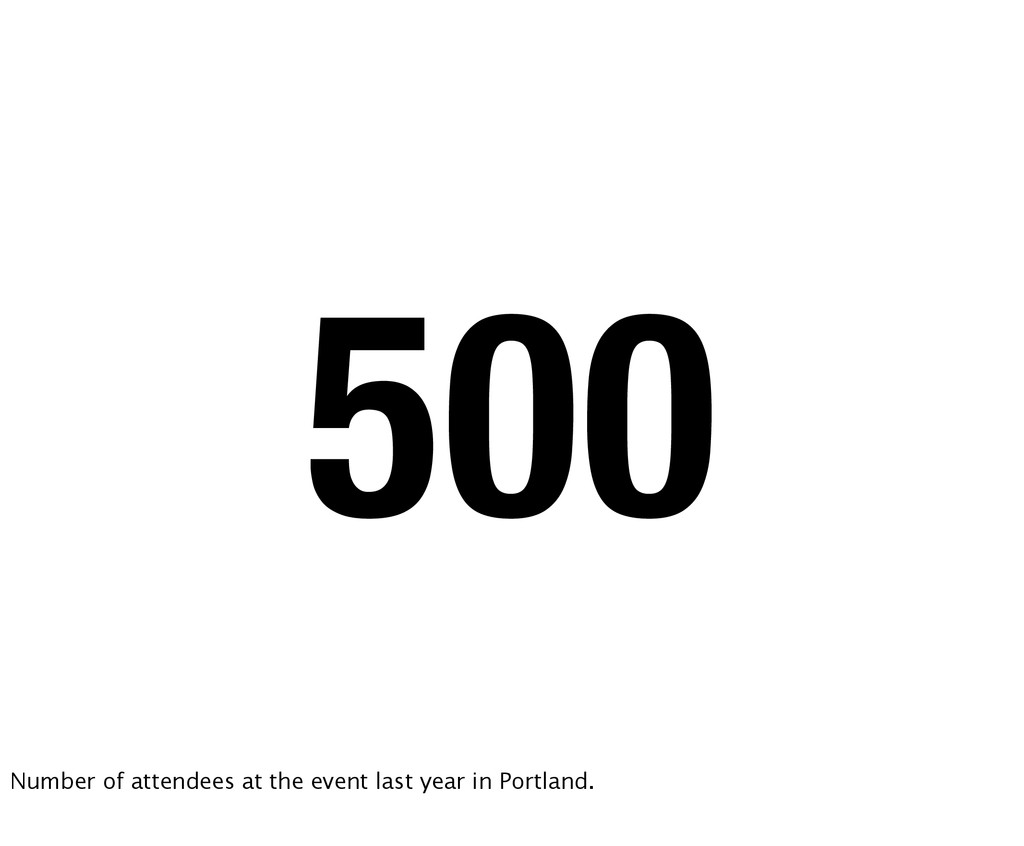 500 Number of attendees at the event last year ...