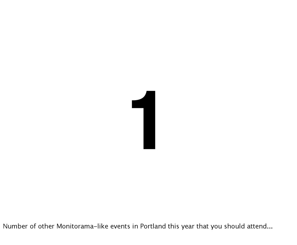 1 Number of other Monitorama-like events in Por...