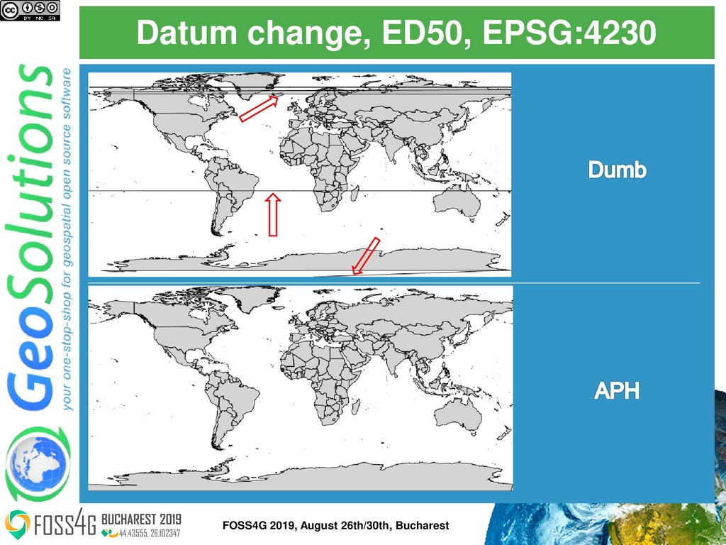 Datum change, ED50, EPSG:4230 FOSS4G 2019, Augu...