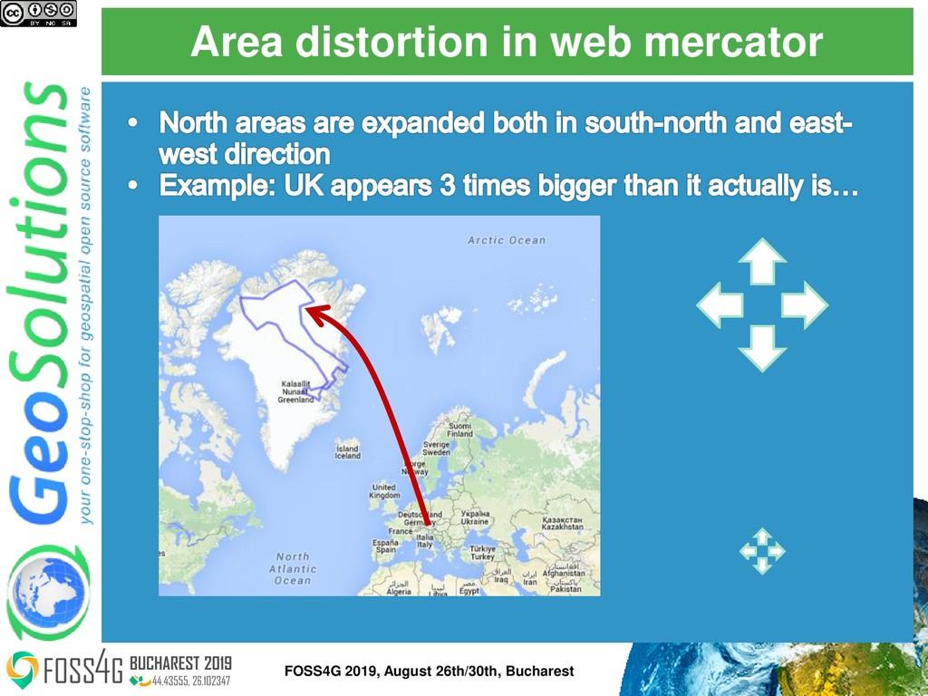 Area distortion in web mercator FOSS4G 2019, Au...