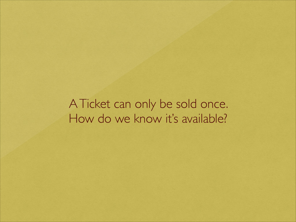 A Ticket can only be sold once.   How do we k...