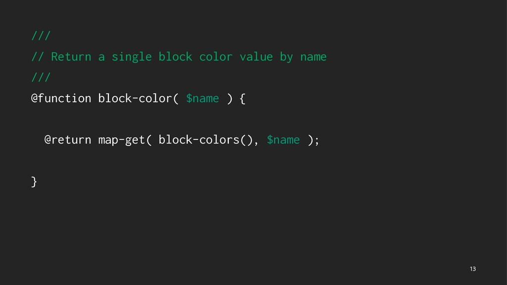 /// // Return a single block color value by nam...
