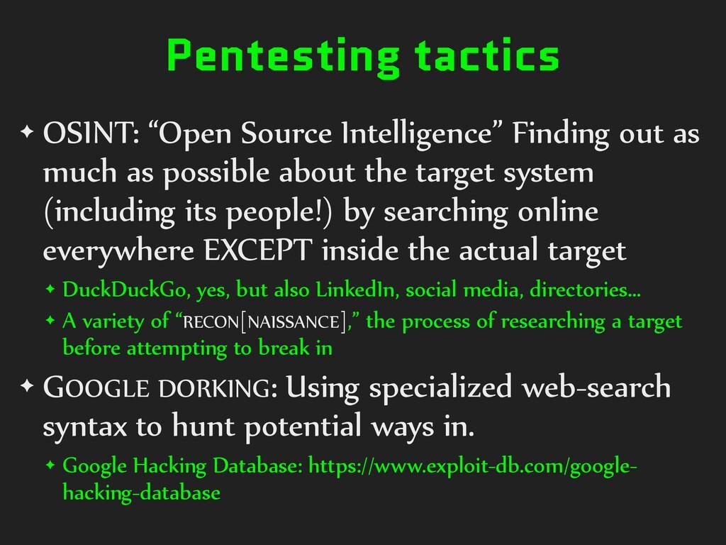 "Pentesting tactics ✦ OSINT: ""Open Source Intell..."