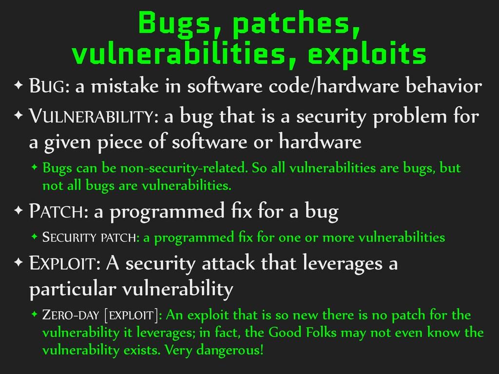 Bugs, patches, vulnerabilities, exploits ✦ BUG:...