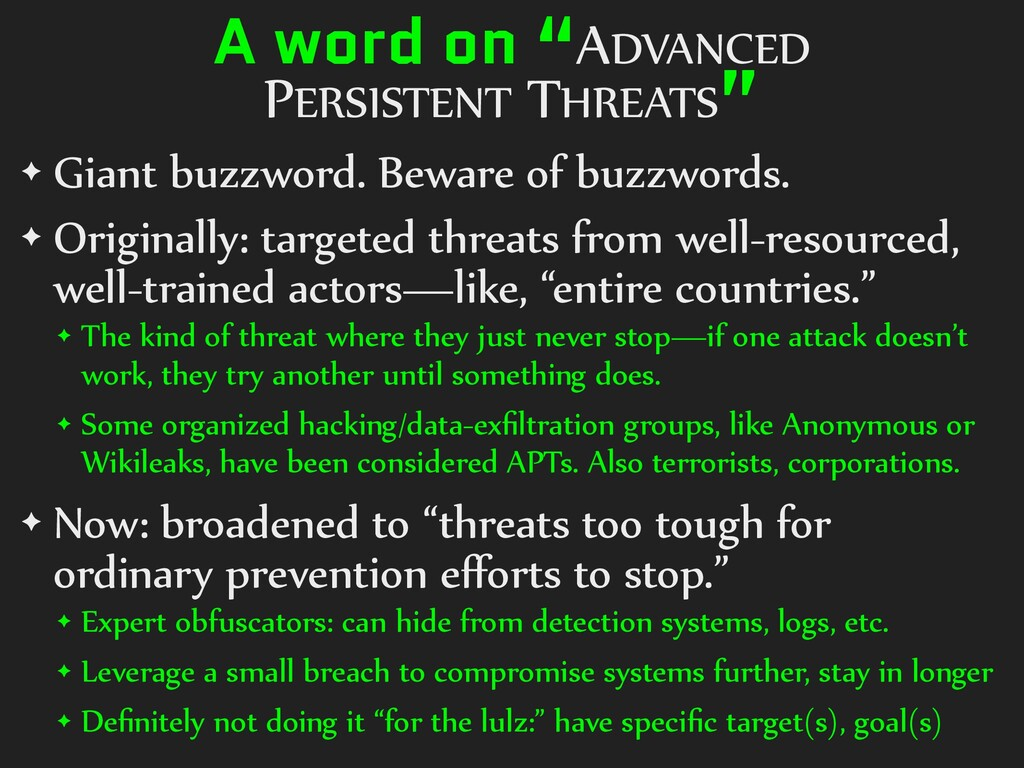 """A word on """"ADVANCED PERSISTENT THREATS"""" ✦ Giant..."""