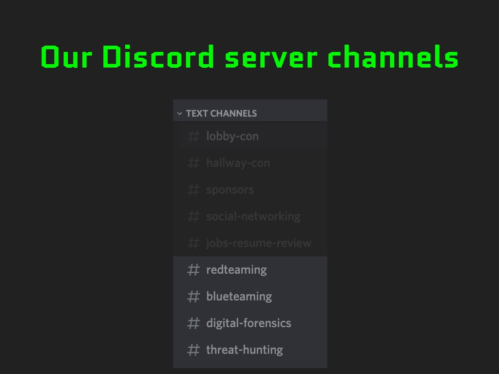 Our Discord server channels