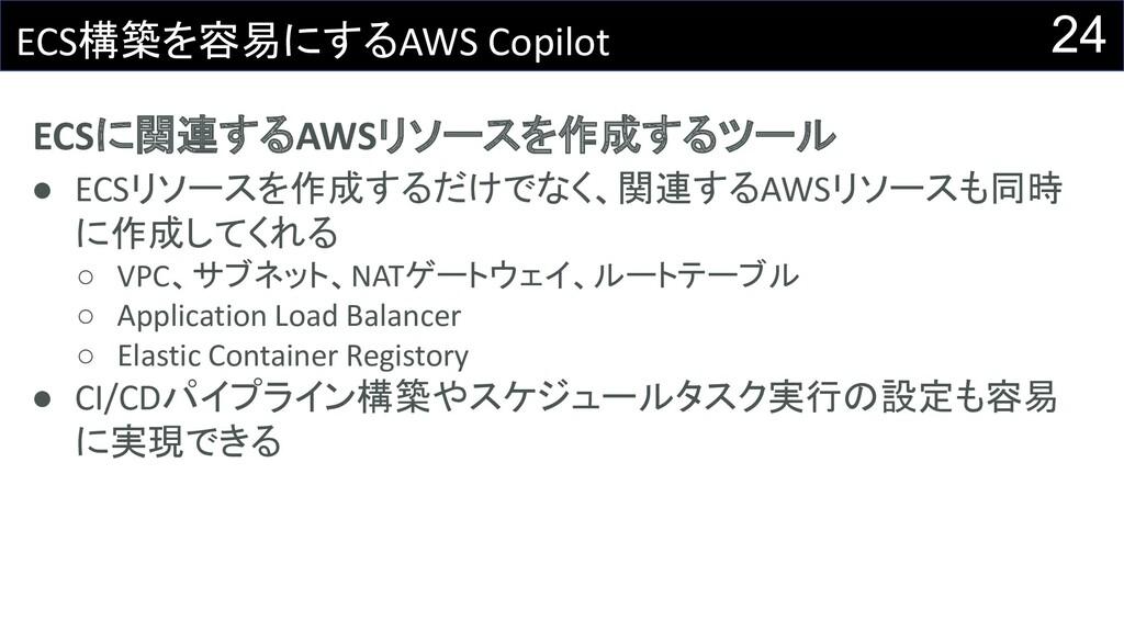 ECSに関連するAWSリソースを作成するツール ● ECSリソースを作成するだけでなく、関連す...