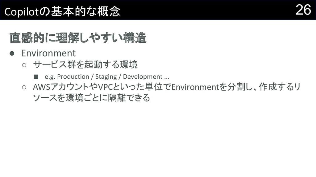 直感的に理解しやすい構造 ● Environment ○ サービス群を起動する環境 ■ e.g...