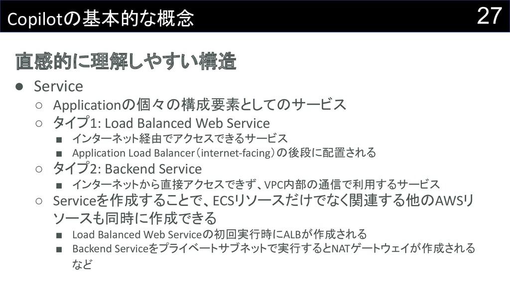 直感的に理解しやすい構造 ● Service ○ Applicationの個々の構成要素として...