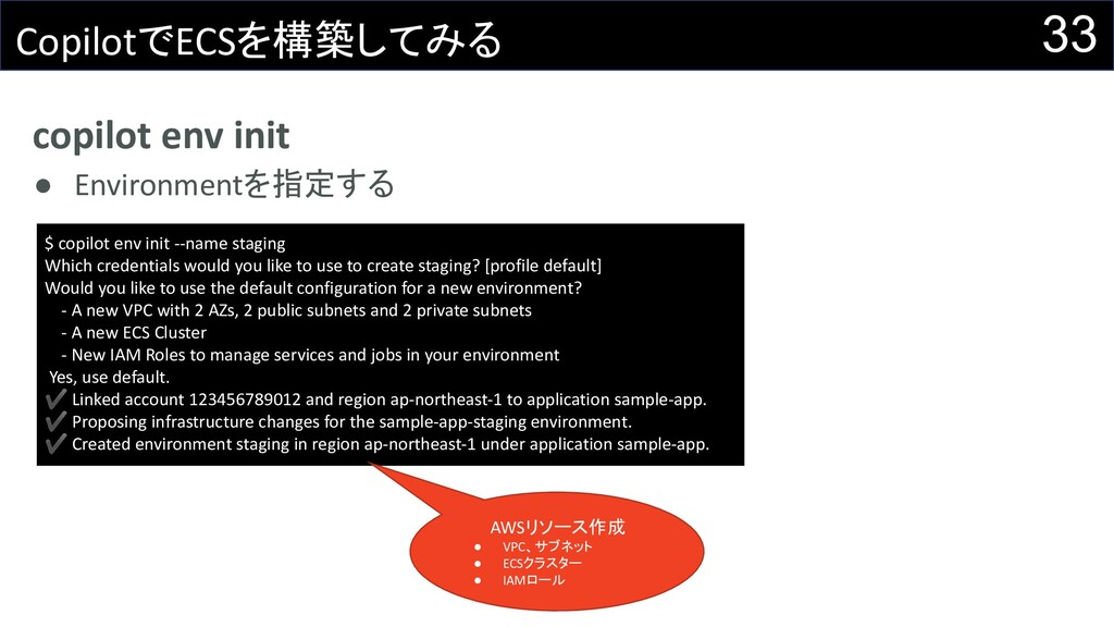 copilot env init ● Environmentを指定する 33 Copilotで...