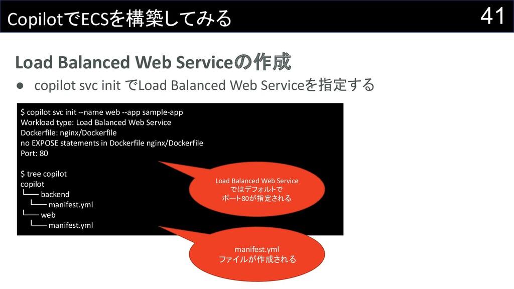 Load Balanced Web Serviceの作成 ● copilot svc init...