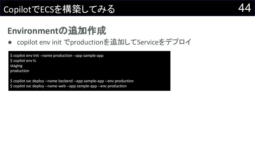 Environmentの追加作成 ● copilot env init でproduction...