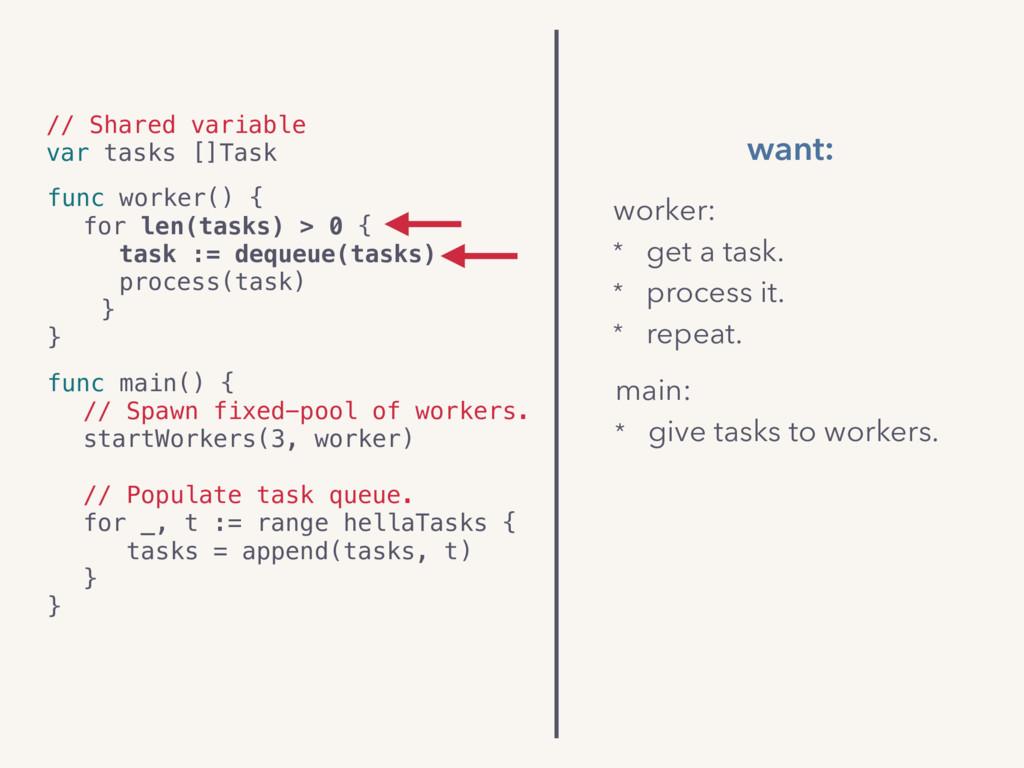 // Shared variable var tasks []Task func worker...