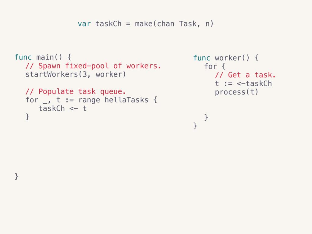 var taskCh = make(chan Task, n) var resultCh = ...